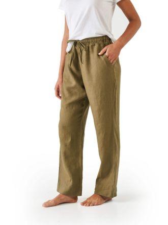 Nimes Olive Linen Pants