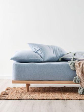 Jersey Blue Fitted Sheet + Pillowcase Set