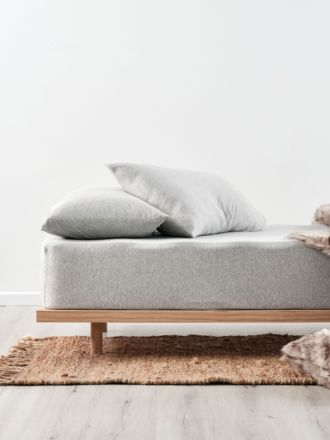 Jersey Silver Fitted Sheet + Pillowcase Set