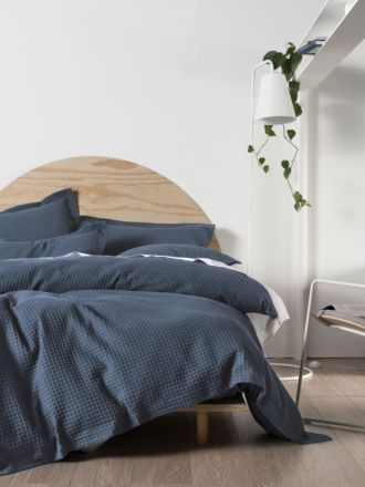 Deluxe Waffle Bluestone Quilt Cover Set