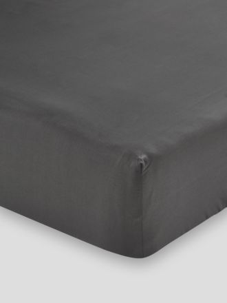 300TC Cotton Sateen Fitted Sheet 50cm - Charcoal