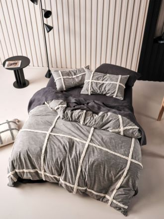 Lyndon Charcoal Quilt Cover Set