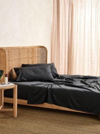 Nara Charcoal Bamboo Cotton 400TC Sheet Set