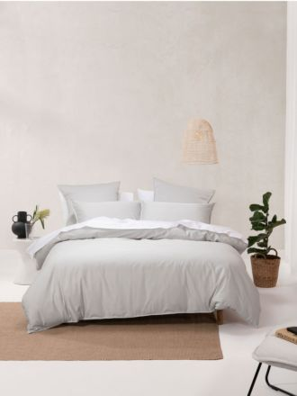 Nara Bamboo Cotton Silver Quilt Cover Set