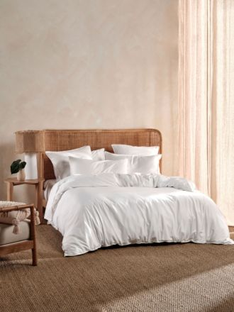 Nara Bamboo Cotton White Quilt Cover Set