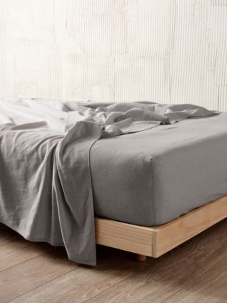 Nimes Ash Linen Fitted Sheet 50cm