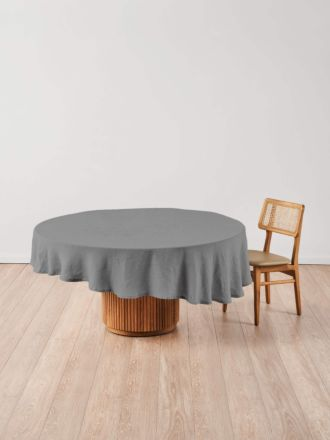 Nimes Ash Linen Round Tablecloth