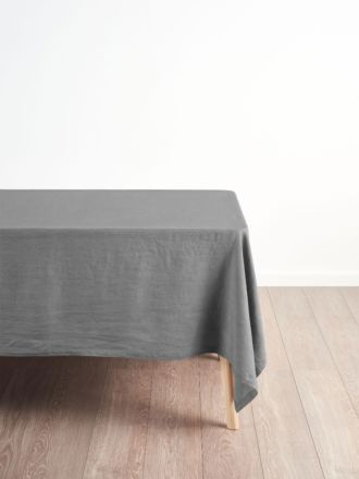 Nimes Ash Linen Square Tablecloth