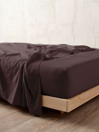 Nimes Espresso Linen Fitted Sheet 50cm