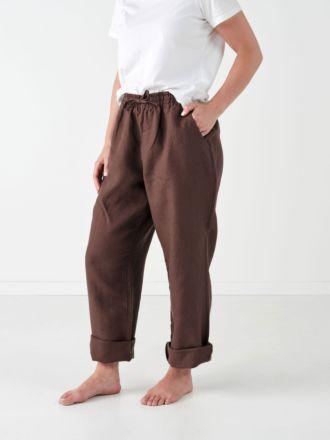 Nimes Espresso Linen Pants