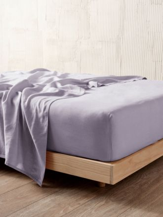 Nimes Lilac Linen Fitted Sheet 50cm