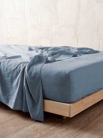 Nimes Nightfall Blue Linen Fitted Sheet 50cm