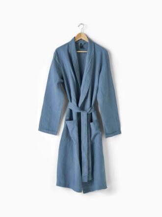 Nimes Nightfall Blue Linen Robe