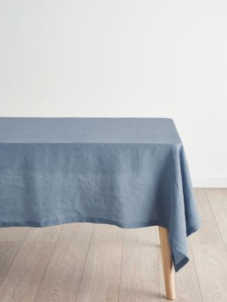 Nimes Blue Linen Tablecloth