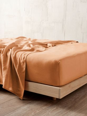 Nimes Terracotta Linen Fitted Sheet 50cm