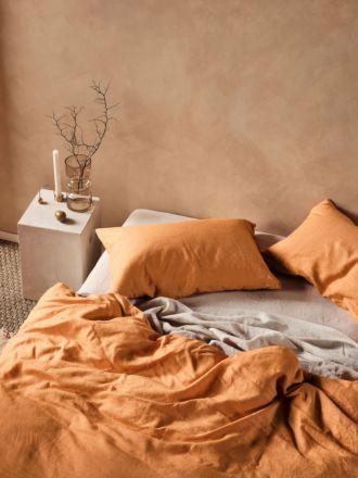 Nimes Terracotta Linen Quilt Cover Set