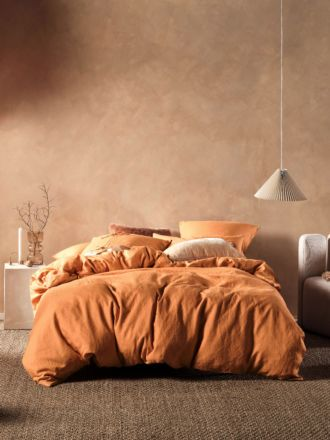Nimes Terracotta Linen Quilt Cover Set