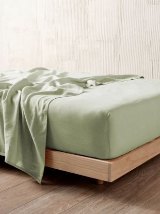 Nimes Wasabi Linen Fitted Sheet 50cm