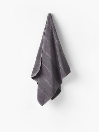 Velour Stripe Charcoal Towel Collection