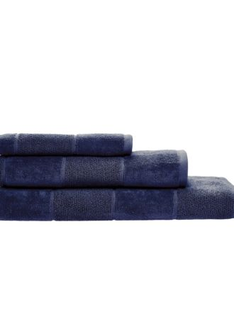 Velour Stripe Navy Towel Collection