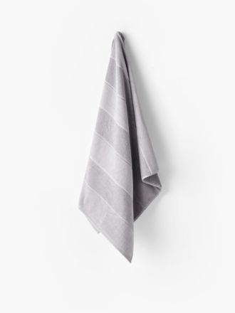 Velour Stripe Silver Towel Collection