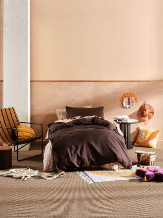 Nimes Espresso Linen Kids Quilt Cover Set