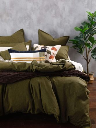 Stitch Olive Quilt Cover Set