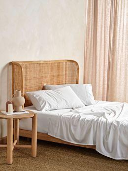 Nara White Bamboo Cotton 400TC Sheet Set