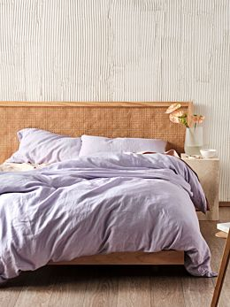 Nimes Lilac Linen Quilt Cover Set