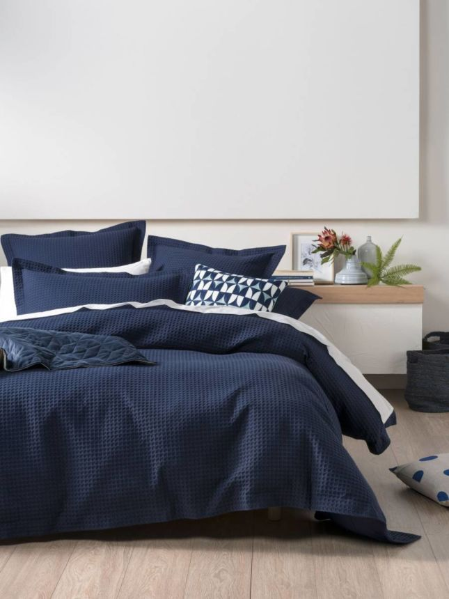 Deluxe Waffle Indigo Quilt Cover Set Quilt Cover Sets
