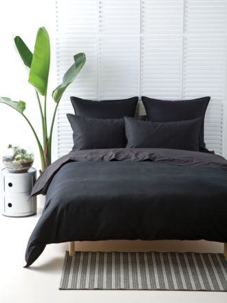 Waffle Black Quilt Cover Set