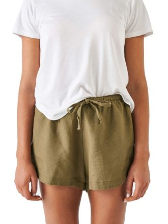 Nimes Olive Linen Shorts