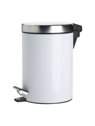 Stainless Steel Tidy Bin White