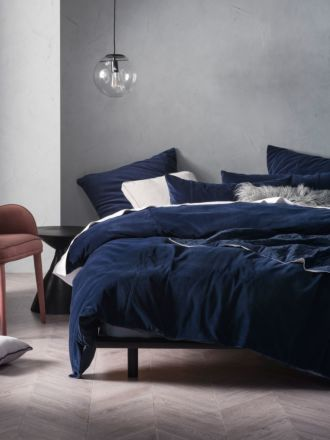 Deluxe Velvet Navy Quilt Cover Set