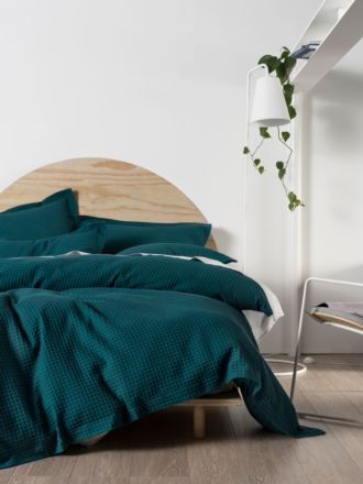DELUXE WAFFLE TEAL QUILT COVER SET