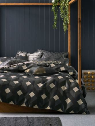 Everett Charcoal Quilt Cover Set
