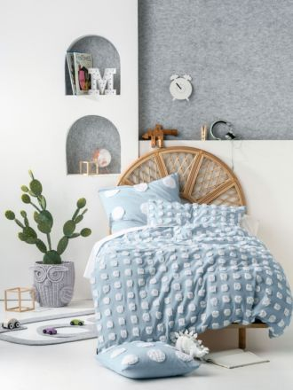 Haze Blue/White Kids Quilt Cover Set