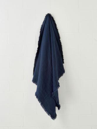 Linden Indigo Linen Throw