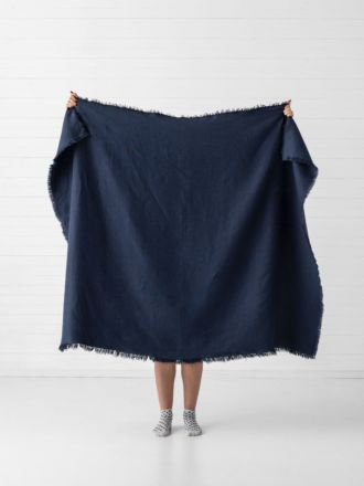 Linden Indigo Linen Throw