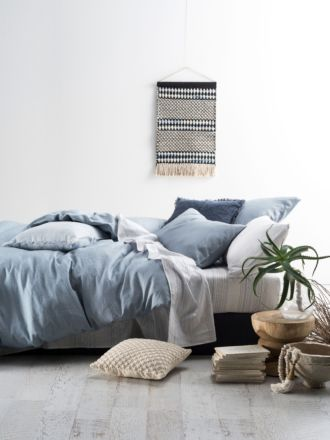 Nimes Blue Linen Quilt Cover Set