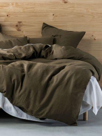 Nimes Olive Linen Quilt Cover Set