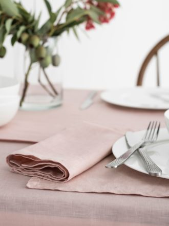 Nimes Rose Linen 4-Piece Napkin Set
