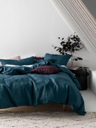 Nimes Teal Linen Quilt Cover Set
