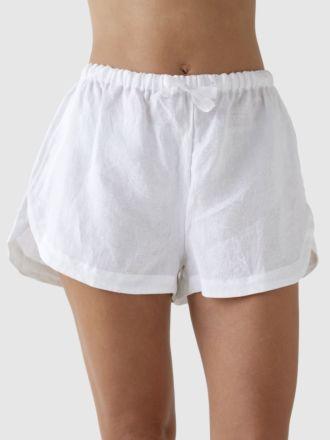 Nimes White Linen Pyjama Shorts