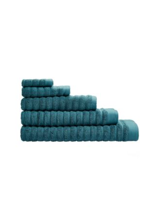 Ridges Deep Teal Towel Collection