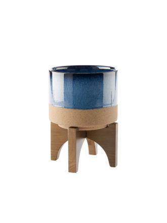 Splendor Blue Small Planter Pot + Stand