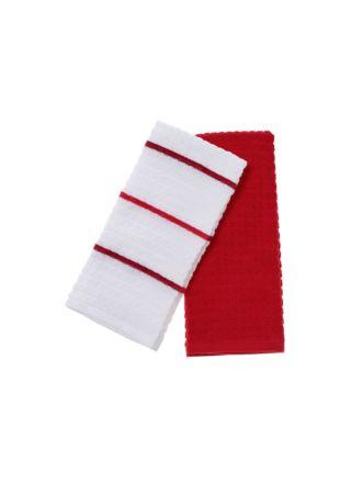 Tobi Red 2-Piece Tea Towel Set