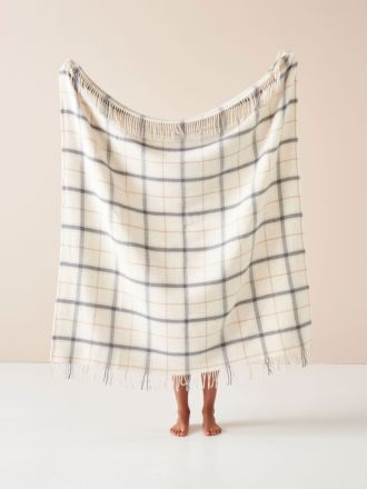 Wool Cream Check Throw