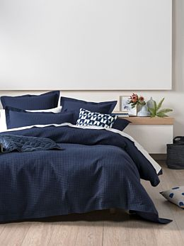 Deluxe Waffle Indigo Quilt Cover Set