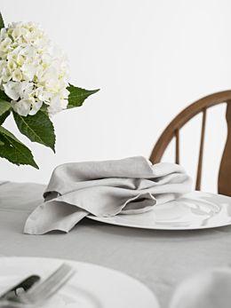 Nimes Grey Linen 4-Piece Napkin Set